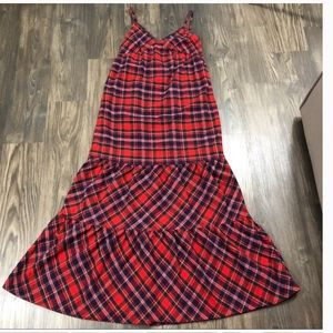 NWT Lucky Red Plaid Flannel Maxi Dress Red Green S